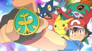Ash met zijn Plant Badge