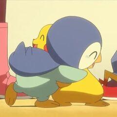 Пикачу обнимает Пиплапа на прощание