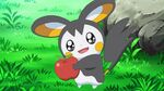 Emolga holding an apple