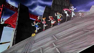 Ash and co and team rocket escaping from the flying palace