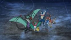 Ash met zijn Pokémon na zijn overwinning van Wulfric
