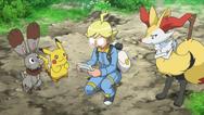 Clemont, Braixen, Pikachu en Bunnelby