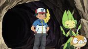 Ash, Leavanny, Scraggy and Pikachu