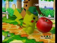 Pikachu eats a big apple