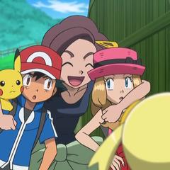 Грейс обнимает Эша и Серену
