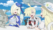 Lillie with Gladion, Lusamine and their Pokémon