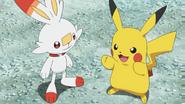 Goh Scorbunny and Ash Pikachu