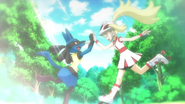 Korrina high five with Lucario