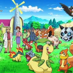 Делия и профессор Оук вместе со всеми покемонами Эша