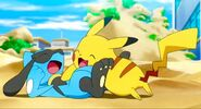 Riolu playing with Pikachu