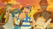 Ash and his close Aloan friends