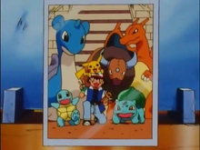 Ash en zijn Pokémon in de eregalerij op de Orange Islands