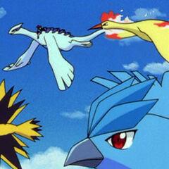 Эш летит верхом на Лугии в сопровождении Легендарных Птиц