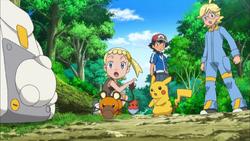 Dedenne steelt Pikachu en Fletchling's eten
