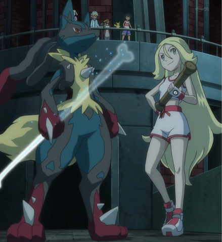 File:Korrina pajamas and Mega Lucario.png