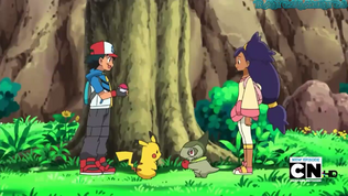 - here is when Ash was trying to capture Iris's Axew 2nd time