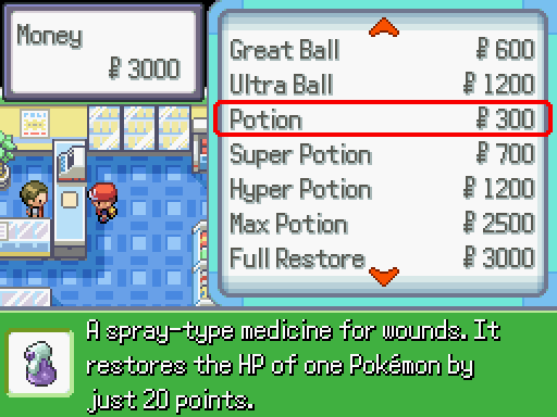 Buying Items From A Poke Mart