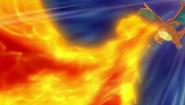 Hygor's Charizard using Flamethrower