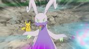 Goodra protecting Pikachu