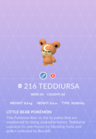 Teddiursa Pokedex
