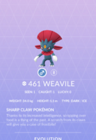Weavile Pokedex