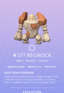 Regirock Pokedex