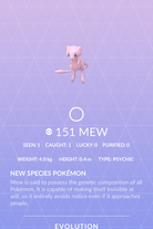 Mew Pokedex