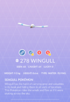 Wingull Pokedex