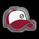 Hat F Dark Red White