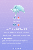Ninetales Alolan Pokedex