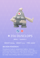 Dusclops Pokedex