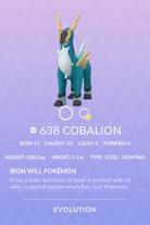 Cobalion Pokedex