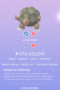 Golem Pokedex