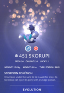 Skorupi Pokedex