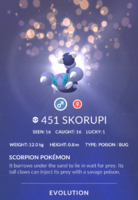 Skorupi Pokedex