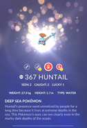 Huntail Pokedex