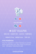 Vulpix Alolan Pokedex