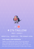 Taillow Pokedex