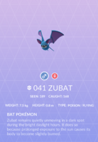 Zubat Pokedex
