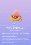 Parasect Pokedex