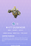 Dusknoir Pokedex