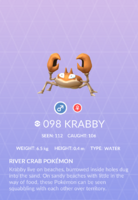 Krabby Pokedex
