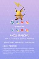 Raichu Pokedex