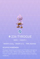 Tyrogue Pokedex