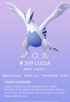 Lugia Pokedex