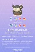 Raticate Alolan Pokedex