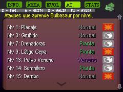 Bulbasaur movimientos