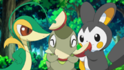 Snivy Emolga Axew apples