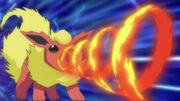 Flareon usando giro de fuego