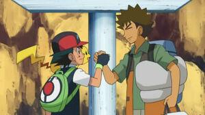 Ash y Brock despidiendose